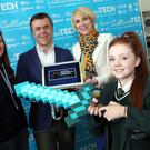 Rachel McDermott, Education Manager at Culture Tech, Santeri Koivisto from Minecraft EDU, Gaynor Lucas, St. Cecilia's College student and Joanna Conway, DCAL. Photo: Lorcan Doherty Photography