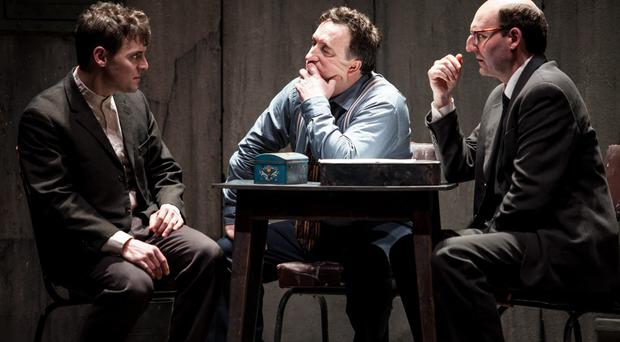 A shot of the cast of The Pillowman starring David McSavage and Gary Lydon at the Lyric Theatre Belfast