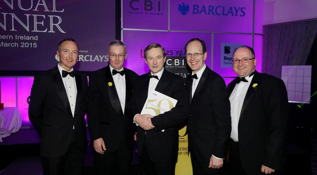 Adrian Doran, Colin Walsh, Taoiseach Enda Kenny TD, John Cridland CBE and Sean Lavery, at the CBI dinner