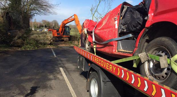 The van and tree that crushed it just outside Middletown. Pic: Gordon Adair BBC News NI