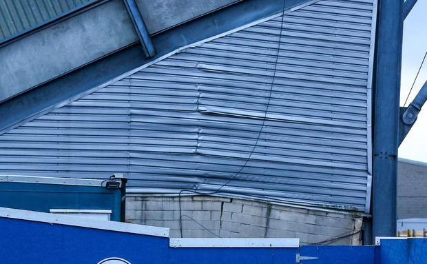 The damaged West Stand at Windsor Park in south Belfast. Picture: Kevin Scott