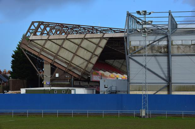 Going down: Windsor Park's Kop Stand will be demolished. Picture by Arthur Allison