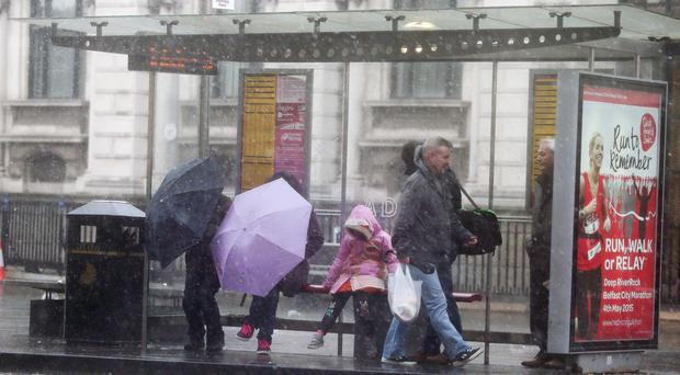 Strong winds and rain in Belfast City Centre. Jonathan Porter / Press Eye