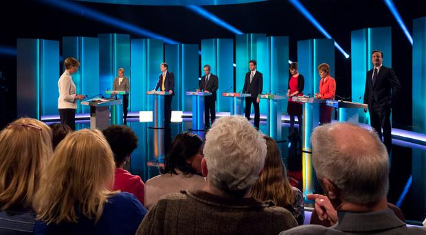 The line-up of political leaders on last night's TV debate... but no Peter Robinson