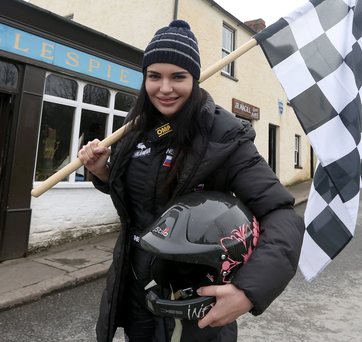 Flying the flag: Inessa Tushakanova savours the scenery around the Ulster Folk Museum