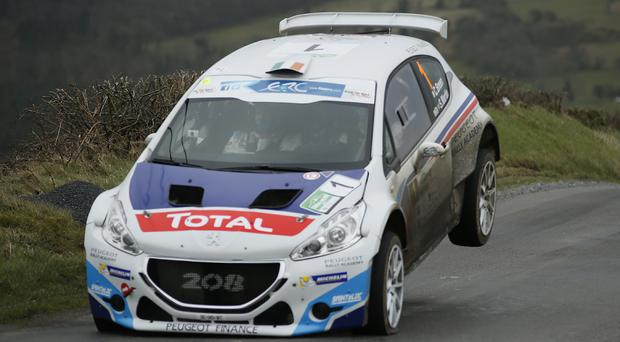 Out in front: Craig Breen sets the pace in the Circuit of Ireland rally