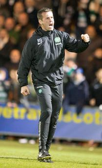 Celtic manager Ronny Deila celebrates after the win over St Mirren