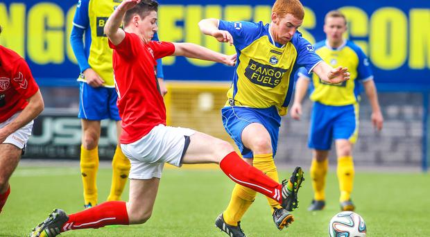 Action from Bangor v Larne, April 4