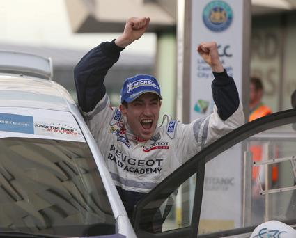 Breen time: Circuit of Ireland winner Craig Breen salutes his dramatic victory