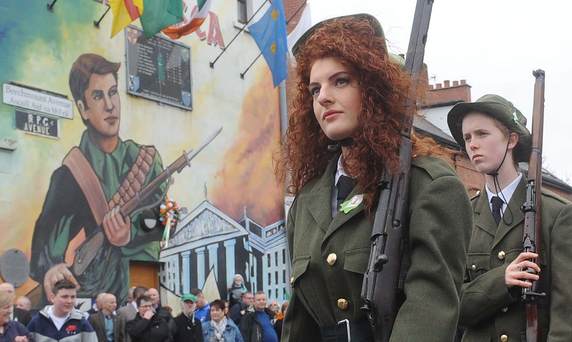 Pacemaker Press 5/4/2015 The Easter Rising parade makes it's way along the Falls Road to Milltown cemetary this afternoon on the 1916 uprising anniversary. Pic Colm Lenaghan/Pacemaker