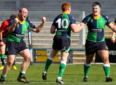 We've done it: Ballynahinch II players celebrate after defeating Clogher Valley to win the Powerade Towns Cup