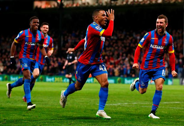 Another one bites the dust: they ruined Liverpool's Premier League title dream last season, and now Crystal Palace have done the same to defending champions Manchester City. Here Jason Puncheon celebrates scoring his team's second goal in the 2-1 victory, which put paid to any chance City had of retaining their title