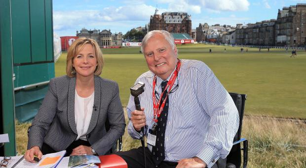 Hazel Irvine and Peter Alliss during the third round of the Ricoh Women's British Open at the Old Course, St Andrews on August 3, 2013
