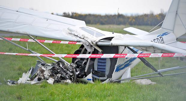 The man was in a two-seater light aircraft that crashed just off the runway at Newtownards Airfield. Pic Justin Kernoghan