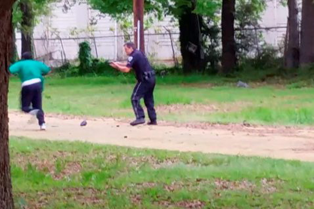 Walter Scott appears to be running away from Michael Slager (AP Photo/Courtesy of L. Chris Stewart)
