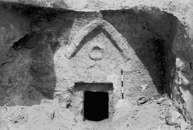 Photo provided by the Israeli Antiquities Authority (IAA) shows the facade of the so-called 'Talpiot Tomb'