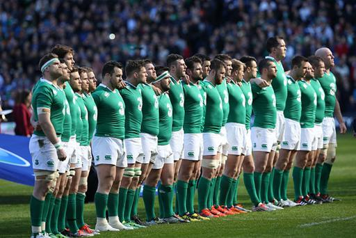 Ireland players line up for the anthems ahead of the Six Nations international rugby union match between Scotland and Ireland at Murrayfield in Edinburgh, Scotland on March 21, 2015. AFP PHOTO / IAN MACNICOL (Photo credit should read Ian MacNicol/AFP/Getty Images)
