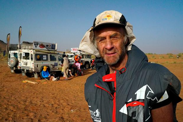 Sir Ranulph Fiennes before the start of the sixth day for the Marathon des Sables - a gruelling six-day ultra-marathon in the Moroccan desert. Marie Curie/Liz Scarff/PA Wire.