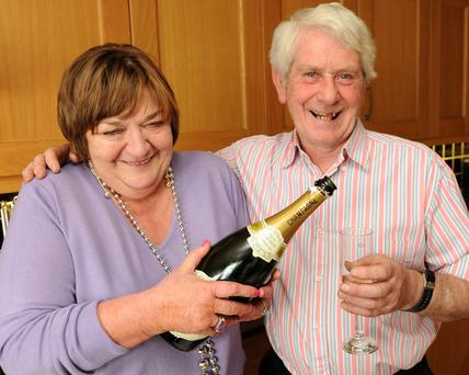 Champagne time: Tony McCoy's parents Claire and Peadear