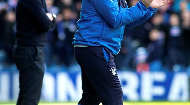 Rangers manager Stuart McCall (right) during the match at Ibrox yesterday