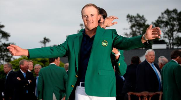 Jordan Spieth wears the Green Jacket of the 2015 Masters Champion at the 79th Masters Golf Tournament at Augusta National Golf Club on April 12, 2015, in Augusta, Georgia. AFP PHOTO/JIM WATSONJIM WATSON/AFP/Getty Images