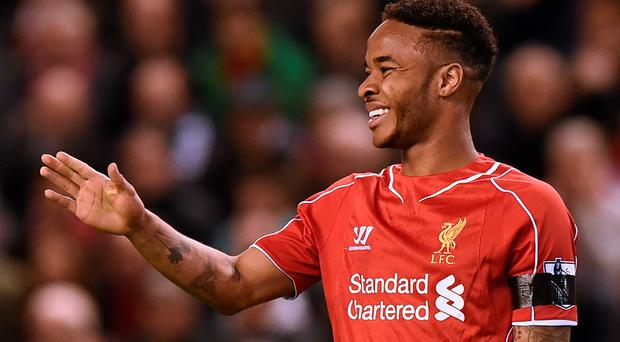 Raheem Sterling gestures during the English Premier League football match between Liverpool and Newcastle United at Anfield in Liverpool