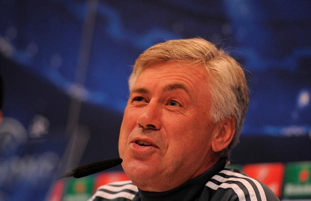 MADRID, SPAIN - APRIL 13: Head coach Carlo Ancelotti of Real Madrid holds a press conference at Valdebebas grounds ahead of the UEFA Champions League Quarter Final, First Leg match against Club Atletico de Madrid on April 13, 2015 in Madrid, Spain. (Photo by Denis Doyle/Getty Images)