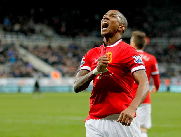 File photo dated 04-03-2015 of Manchester United's Ashley Young celebrating his goal during the Barclays Premier League match at St James' Park, Newcastle. PRESS ASSOCIATION Photo. Issue date: Thursday April 9, 2015. Ashley Young is desperate to avoid being part of the first United team to lose five successive Manchester derbies. See PA story SOCCER Man Utd. Photo credit should read Richard Sellers/PA Wire.