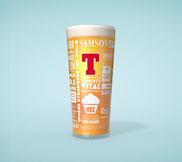 Tennent's Limited Edition Norn Iron to a T glass.