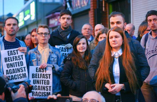 Members of the east Belfast community rallying together for Asta's Glam Factory in east Belfast. Picture: Kevin Scott
