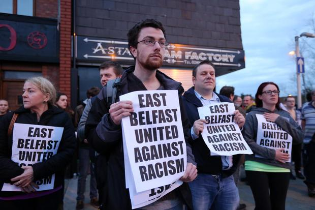 Belfast residents rally against racism outside Asta's Glam Factory on Castlereagh Street in East Belfast. Pic Kelvin Boyes/Press Eye