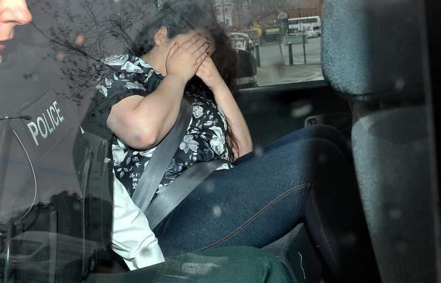 Stephanie Todd arriving in a police vehicle at Newtownards Courthouse