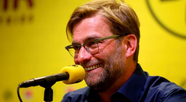 DORTMUND, GERMANY - APRIL 15: Head coach Juergen Klopp of Dortmund attends a press conference at Signal Iduna Park on April 15, 2015 in Dortmund, Germany. (Photo by Christof Koepsel/Bongarts/Getty Images)