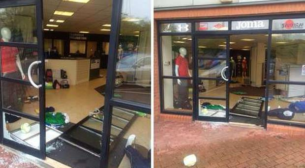 Teamwear Ireland sportswear shop after a burglary. Pic: BBC