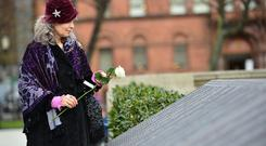 A special ceremony marking the 103rd anniversary of the sinking of the RMS Titanic took place at the City Hall Titanic Memorial Garden in Belfast today. Pic Arthur Allison