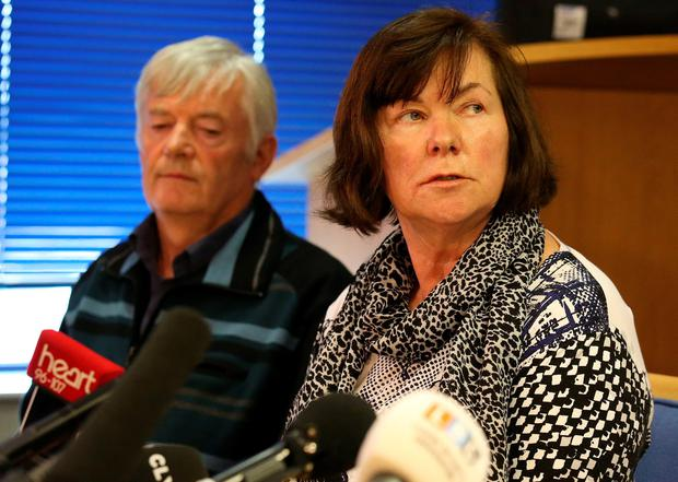 Marian and John Buckley, parents of missing girl Karen Buckley, make a statement during a press conference at Govan Police Office in Glasgow.