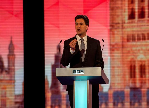 Labour leader Ed Miliband takes part in the Live BBC Election Debate 2015 (Photo by Stefan Rousseau - WPA Pool/Getty Images)