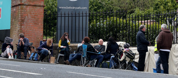 People queue at Belvoir Park yesterday to buy a house at the development on the outskirts of south Belfast