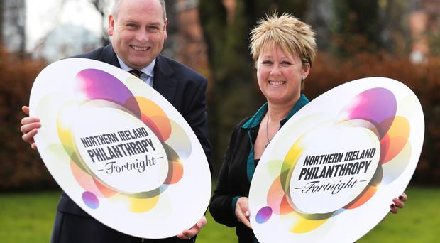 Eamonn Donaghy of the Community Foundation for Northern Ireland and Tracy Bell of Giving Northern Ireland at the launch of Philanthropy Fortnight