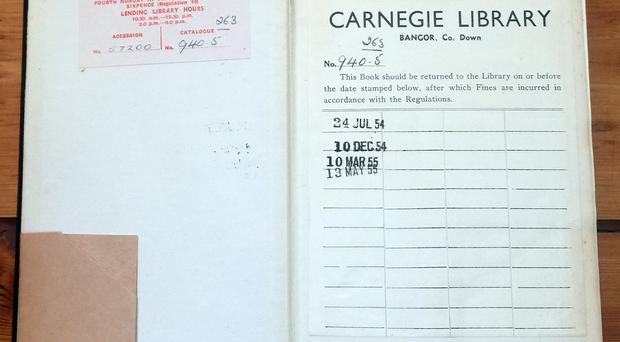 Late show: Frank Entwisle orginially borrowed the book from Bangor Carnegie Library in 1955