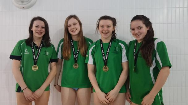 Record breakers: Hannah James, Bethany Houston, Emma Reid and Rebecca Reid after their Irish senior record success
