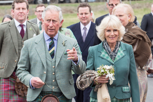 The Prince of Wales and the Duchess of Cornwall, known as the Duke and Duchess of Rothesay in Scotland, during a visit to the Ballindalloch Distillery in Aberdeenshire, Scotland.