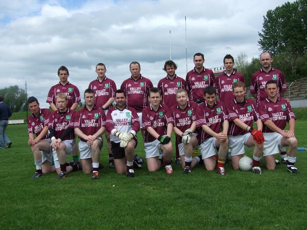Team game: our man Declan Bogue (back row, centre) won't be lining up with the Tempo Maguires squad any longer