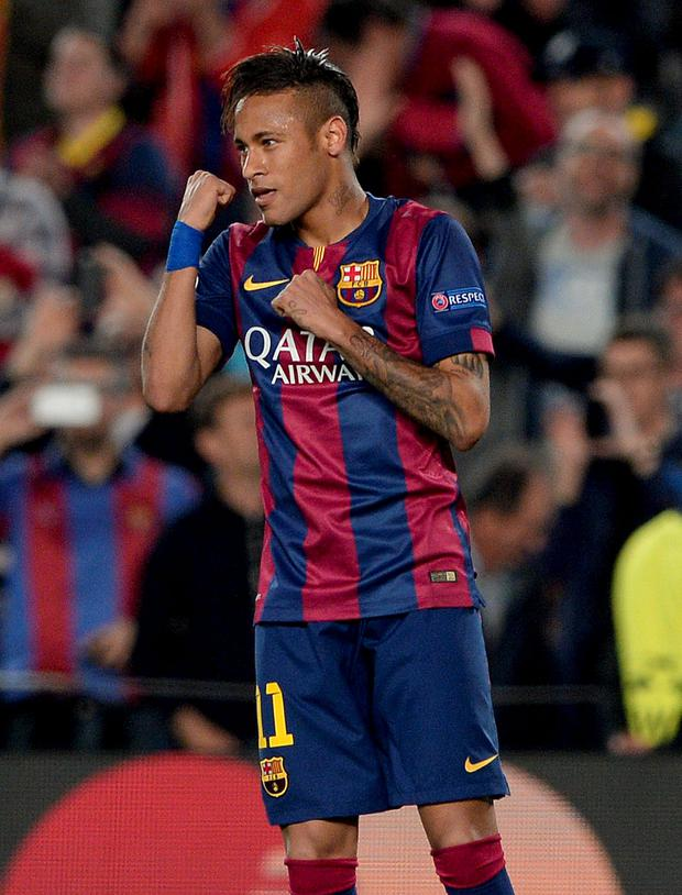 Barcelona's Brazilian forward Neymar da Silva Santos Junior celebrates his goal during the UEFA Champions League quarter-finals second leg football match FC Barcelona vs Paris Saint-Germain at the Camp Nou stadium in Barcelona