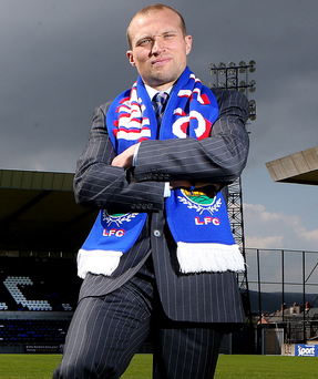On the ball: Warren Feeney believes he has had a decent first year in charge of Linfield despite not winning any trophies