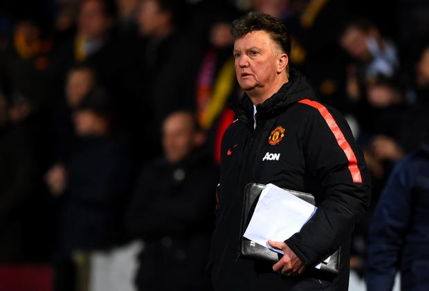 CAMBRIDGE, ENGLAND - JANUARY 23: Louis van Gaal, manager of Manchester United looks on after the FA Cup Fourth Round match between Cambridge United and Manchester United at The R Costings Abbey Stadium on January 23, 2015 in Cambridge, England. (Photo by Shaun Botterill/Getty Images)