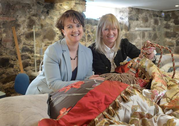 Moira-based family business Beaufort Interiors is targeting new markets and recruiting two additional staff as part of efforts to increase sales of its bespoke curtains in Great Britain and Europe. Pictured (L R) are Grainne McVeigh, Invest NI, and Ruth Wilson, Beaufort Interiors. Photo by Aaron McCracken/Harrisons