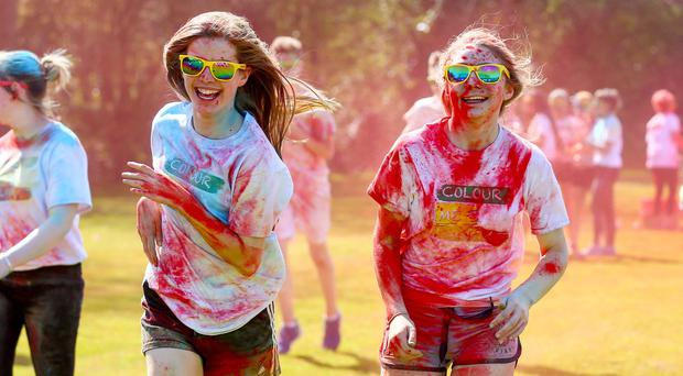 Wednesday 22nd April 2015 - Friends School Lisburn Paint Run Pictured is students of Friends School in Lisburn during their colour run held for charity. Picture - Kevin Scott / Belfast Telegraph