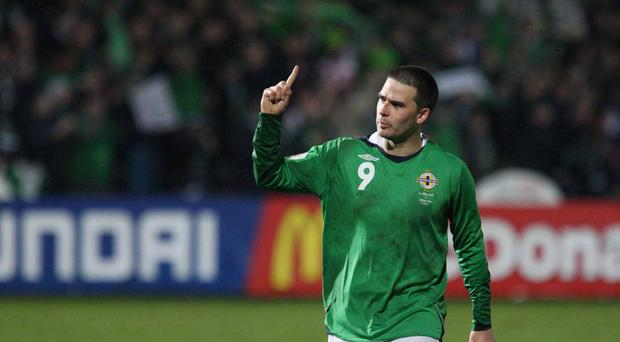 Northern Ireland vs Denmark at Winsor Park Belfast. Northern Ireland's David Healy.