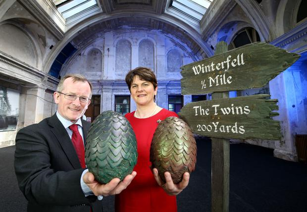 Niall Gibbons, CEO of Tourism Ireland and Enterprise Minister Arlene Foster at the launch of Tourism Ireland's new Game of Thrones campaign